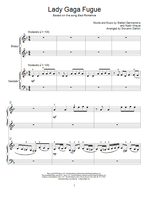 Lady Gaga Fugue Sheet Music
