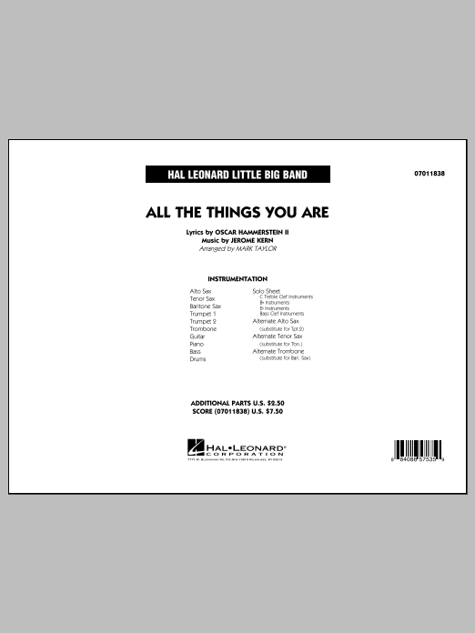 All The Things You Are - Conductor Score (Full Score) (Jazz Ensemble)
