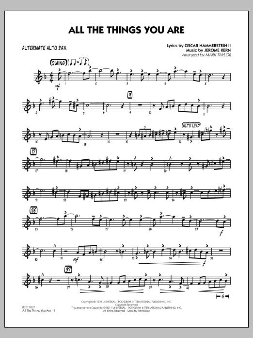 All The Things You Are - Alternate Alto Sax (Jazz Ensemble)