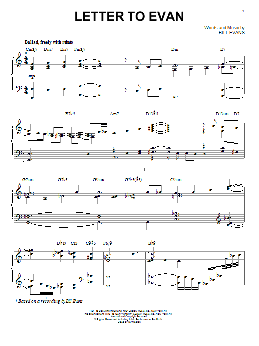 Letter To Evan [Jazz version] (arr. Brent Edstrom) (Piano Solo)