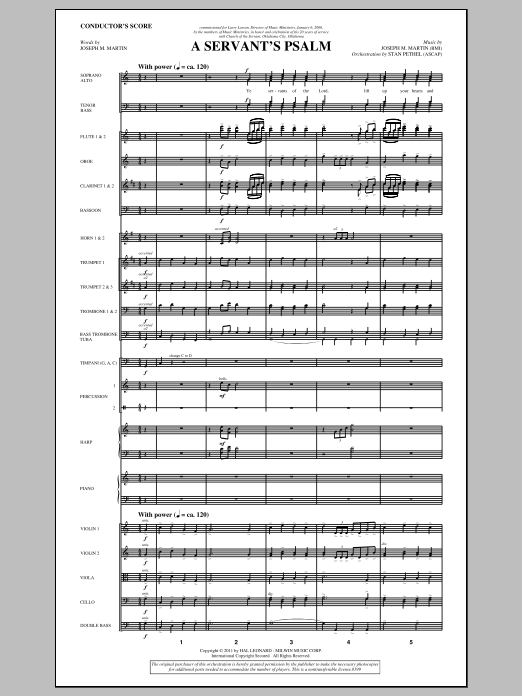 A Servant's Psalm (complete set of parts) sheet music for orchestra/band (Orchestra) by Joseph M. Martin. Score Image Preview.