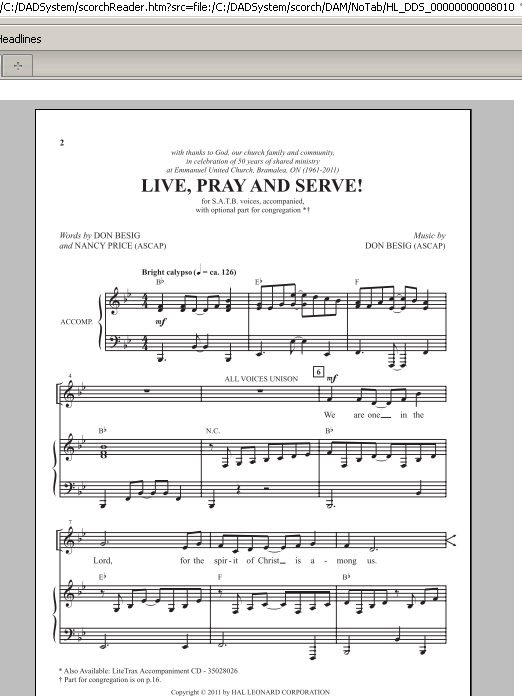 Partition chorale Live, Pray And Serve! de Don Besig - SATB