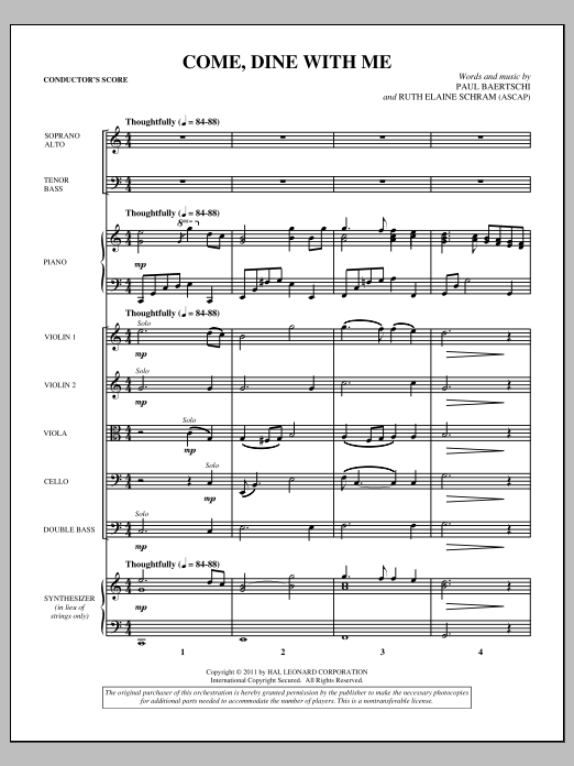 Come, Dine With Me (complete set of parts) sheet music for orchestra/band (Orchestra) by Ruth Elaine Schram and Paul Baertschi. Score Image Preview.