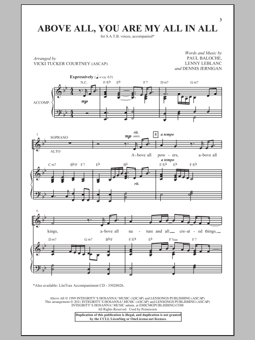 Partition chorale Above All de Vicki Tucker Courtney - SATB