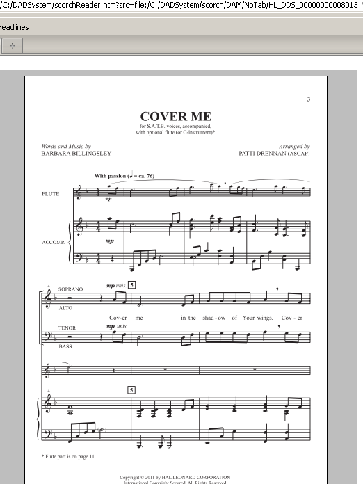 Cover Me (SATB Choir)