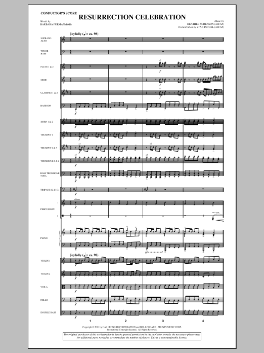 Resurrection Celebration (complete set of parts) sheet music for orchestra/band (Orchestra) by Heather Sorenson and Barbara Furman. Score Image Preview.
