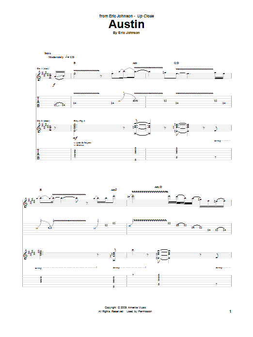 Tablature guitare Austin de Eric Johnson - Tablature Guitare