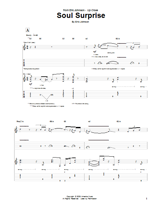 Tablature guitare Soul Surprise de Eric Johnson - Tablature Guitare