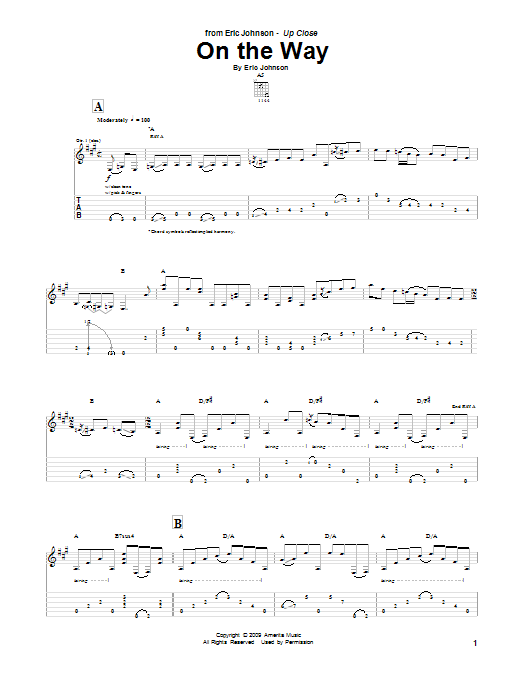 Tablature guitare On The Way de Eric Johnson - Tablature Guitare