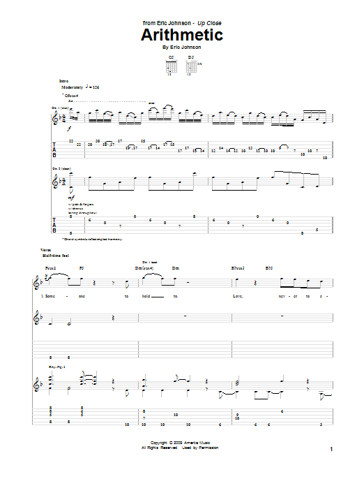 Tablature guitare Arithmetic de Eric Johnson - Tablature Guitare