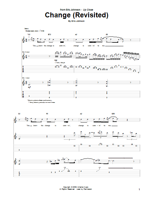Tablature guitare Change (Revisited) de Eric Johnson - Tablature Guitare