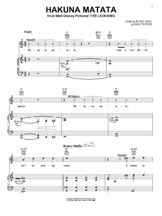 Partition piano Hakuna Matata de Elton John - Piano Voix Guitare (Mélodie Main Droite)
