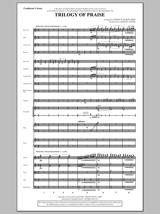 Trilogy Of Praise (complete set of parts) sheet music for orchestra/band (Orchestration) by Joseph M. Martin. Score Image Preview.