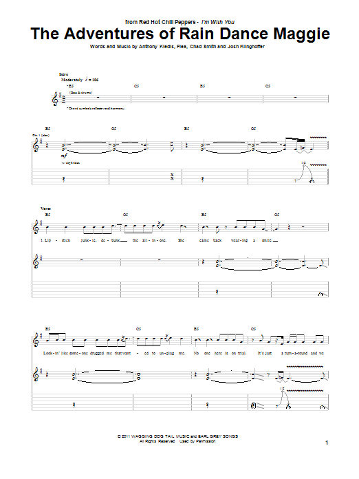 The Adventures Of Rain Dance Maggie (Guitar Tab)