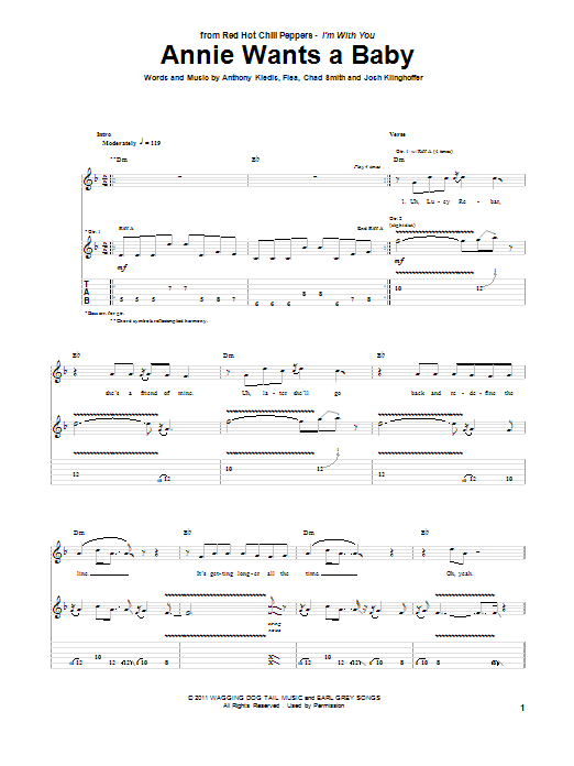 Tablature guitare Annie Wants A Baby de Red Hot Chili Peppers - Tablature Guitare