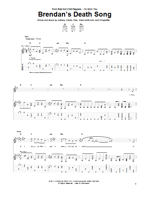 Tablature guitare Brendan's Death Song de Red Hot Chili Peppers - Tablature Guitare