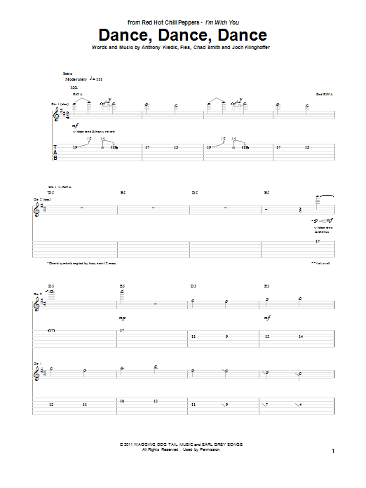Tablature guitare Dance, Dance, Dance de Red Hot Chili Peppers - Tablature Guitare