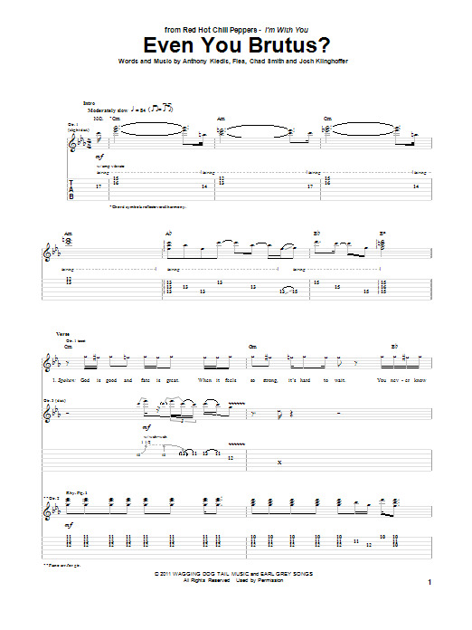 Tablature guitare Even You Brutus? de Red Hot Chili Peppers - Tablature Guitare
