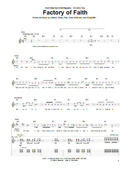Tablature guitare Factory Of Faith de Red Hot Chili Peppers - Tablature Guitare