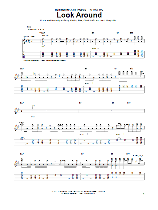 Tablature guitare Look Around de Red Hot Chili Peppers - Tablature Guitare