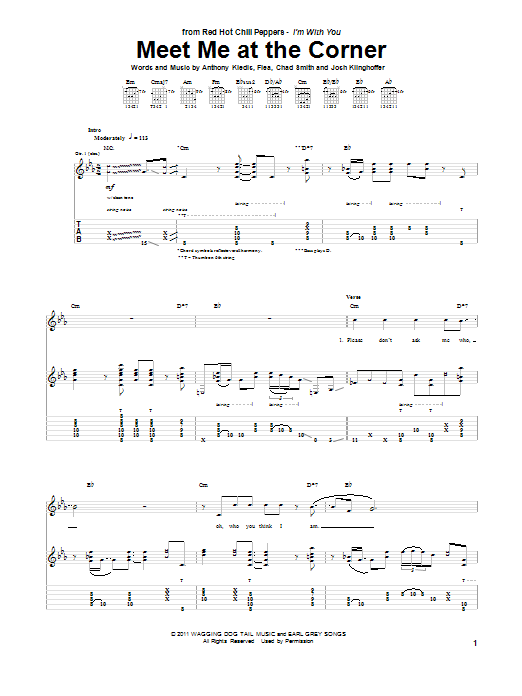 Tablature guitare Meet Me At The Corner de Red Hot Chili Peppers - Tablature Guitare