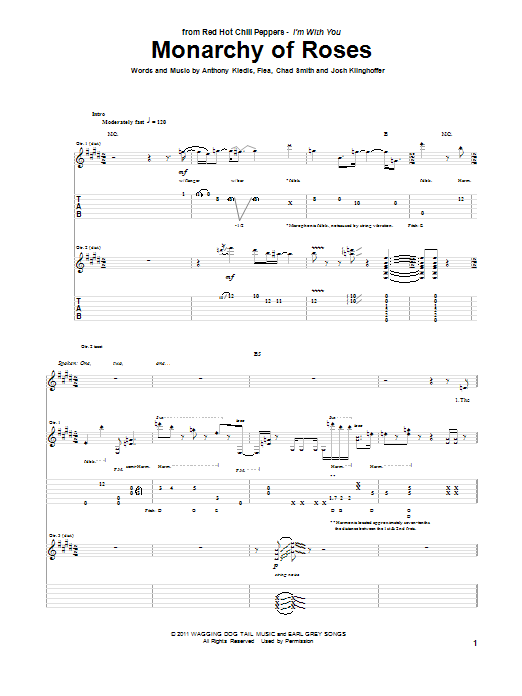 Monarchy Of Roses Sheet Music