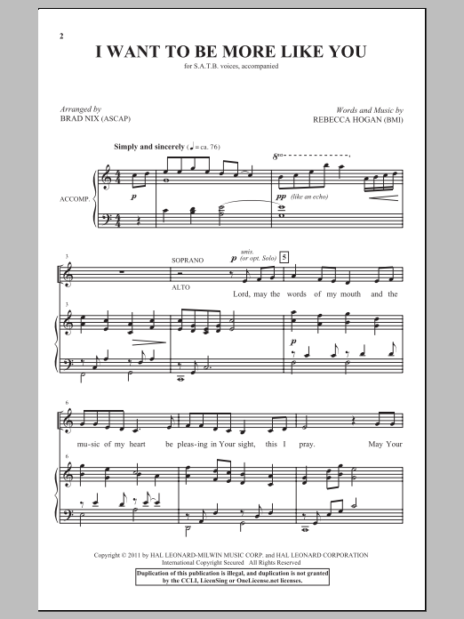Partition chorale I Want To Be More Like You de Brad Nix - SATB