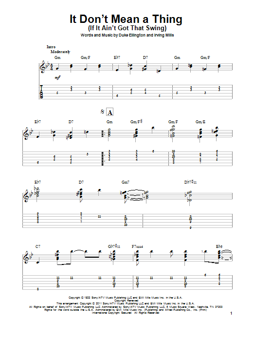 Tablature guitare It Don't Mean A Thing (If It Ain't Got That Swing) de Duke Ellington - Tablature Guitare
