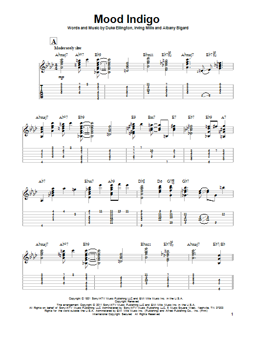 Tablature guitare Mood Indigo de Duke Ellington - Tablature Guitare