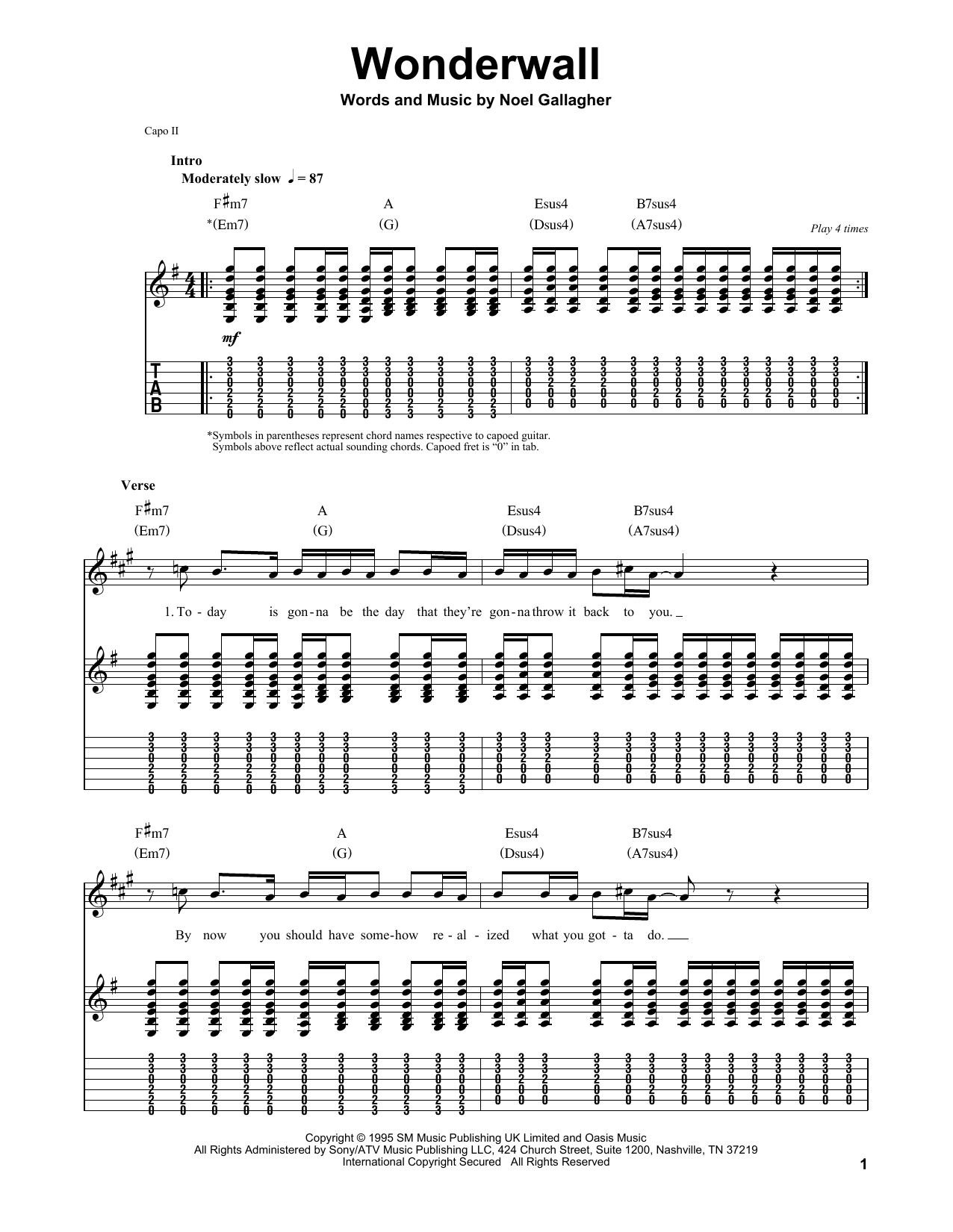 Wonderwall Sheet Music By Oasis Guitar Tab Play Along 86715