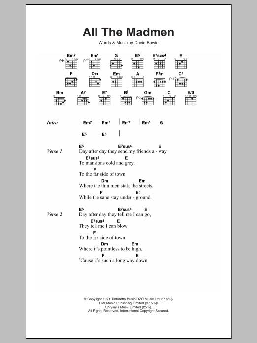 All The Madmen By David Bowie Guitar Chordslyrics Guitar Instructor