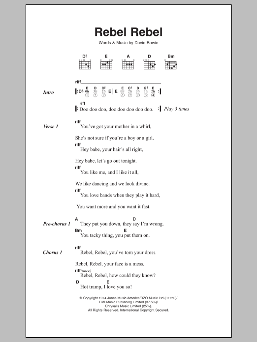 Old Fashioned David Bowie Life On Mars Chords Frieze - Guitar ...