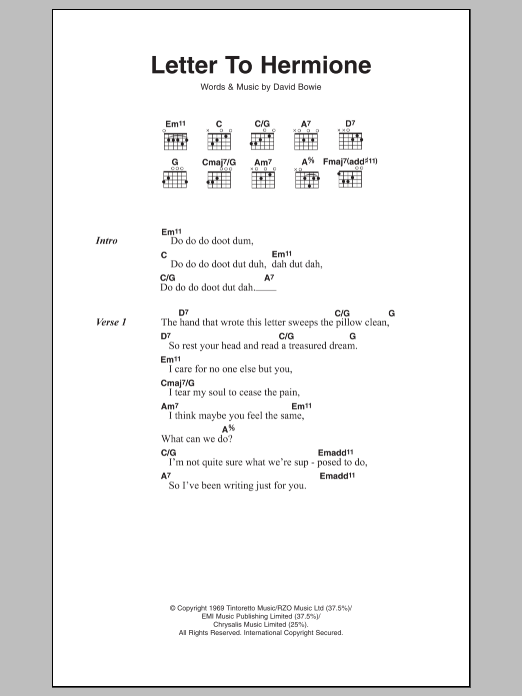 Letter To Hermione by David Bowie   Guitar Chords/Lyrics   Guitar
