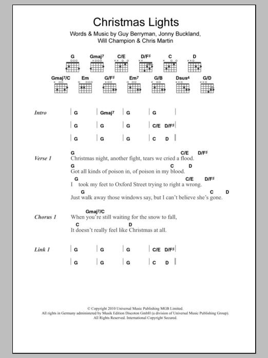 Christmas LightsColdplay Guitar Chords/Lyrics - Christmas Lights Sheet Music Coldplay Guitar Chords/Lyrics