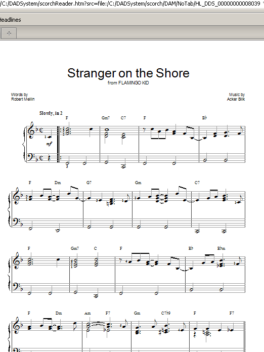 Stranger On The Shore (Easy Piano)