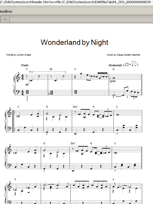 Wonderland By Night Sheet Music