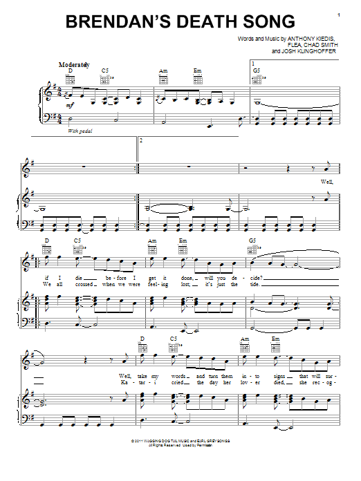 Brendan's Death Song Sheet Music