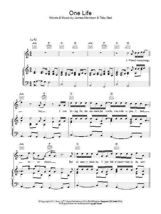 One Life (Piano, Vocal & Guitar)