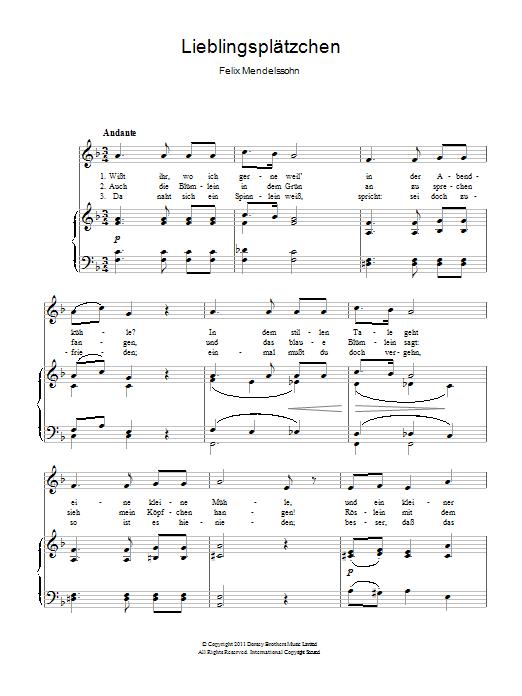 Lieblingsplatzchen Sheet Music