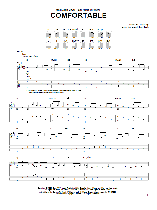 Tablature guitare Comfortable de John Mayer - Tablature Guitare