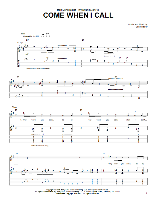 Come When I Call (Guitar Tab)
