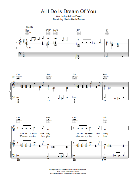 All I Do Is Dream Of You Sheet Music