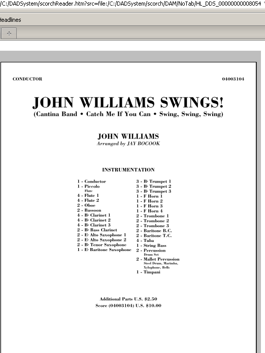 John Williams Swings! (COMPLETE) sheet music for concert band by John Williams and Jay Bocook. Score Image Preview.