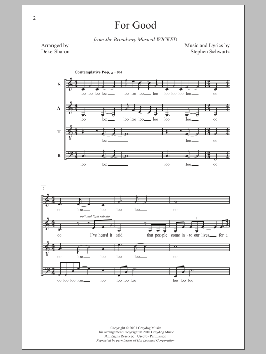 For Good (from Wicked) (arr. Deke Sharon) Sheet Music