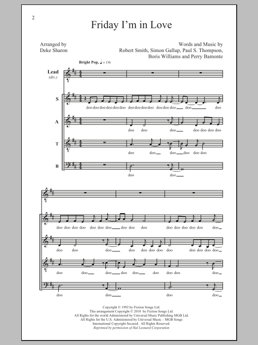 Partition chorale Friday I'm In Love de The Cure - SATB