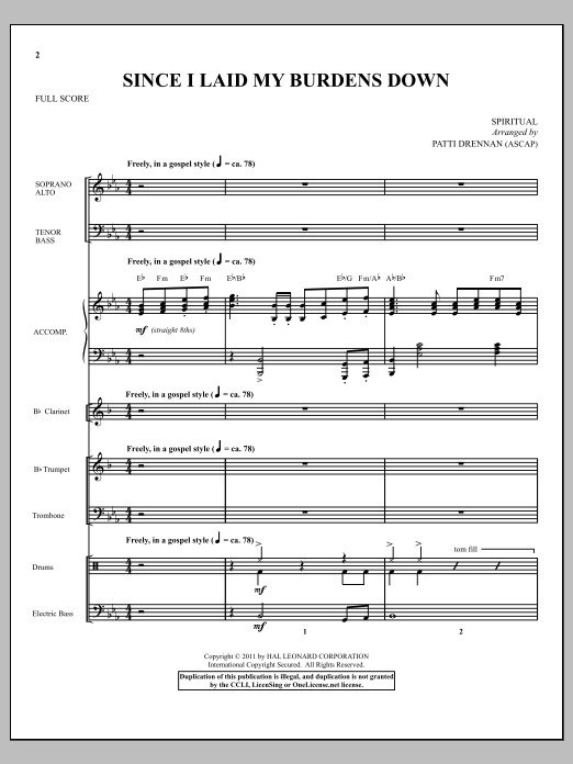 Since I Laid My Burdens Down (complete set of parts) sheet music for orchestra/band (Orchestra) by Patti Drennan. Score Image Preview.