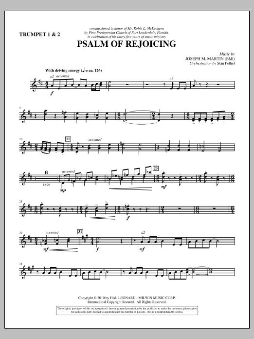 Psalm Of Rejoicing - Bb Trumpet 1,2 (Choir Instrumental Pak)