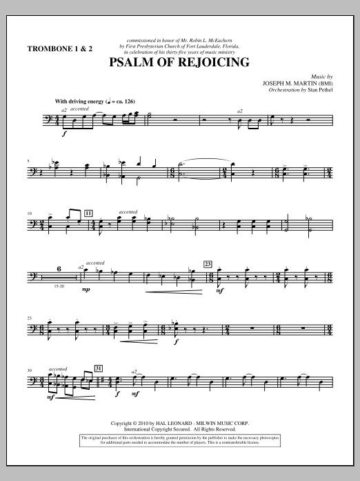 Psalm Of Rejoicing - Trombone 1 & 2 (Choir Instrumental Pak)
