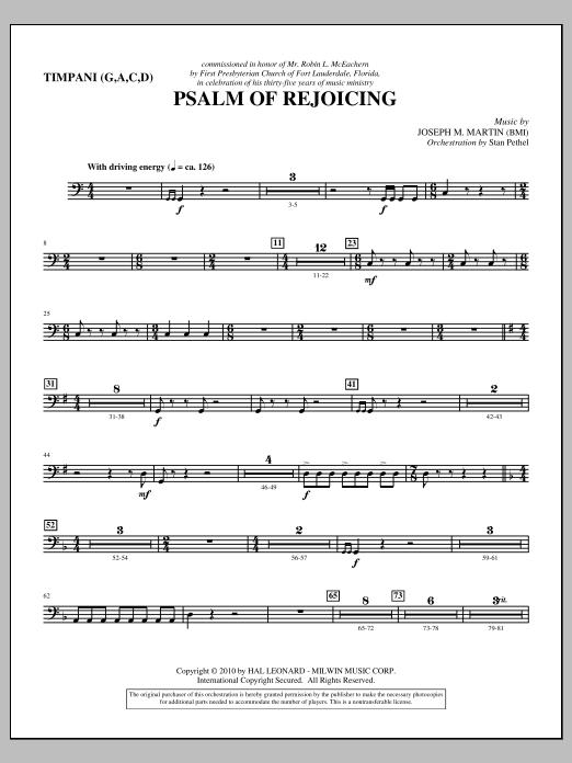 Psalm Of Rejoicing - Timpani (Choir Instrumental Pak)