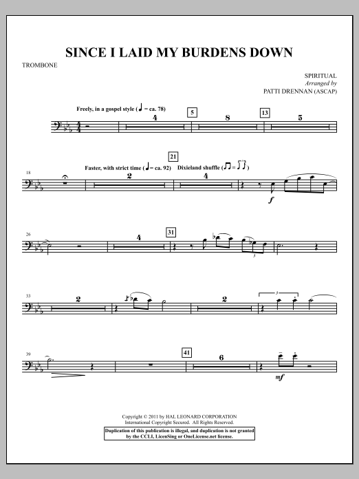 Since I Laid My Burdens Down - Trombone Sheet Music
